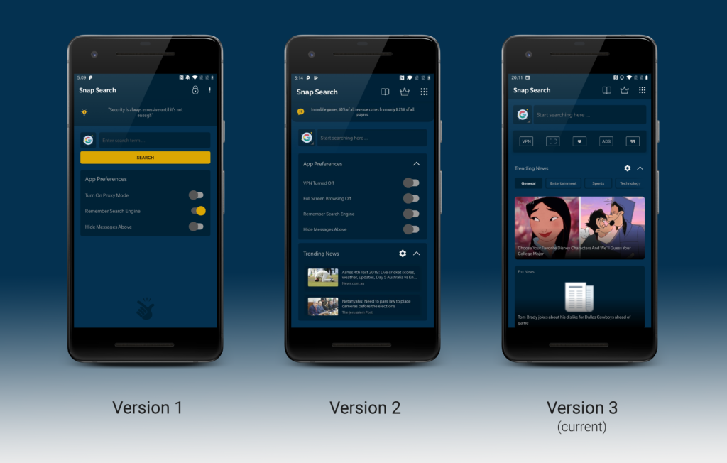 Version 1, Version 2 and Version 3 of Snap Search screenshots