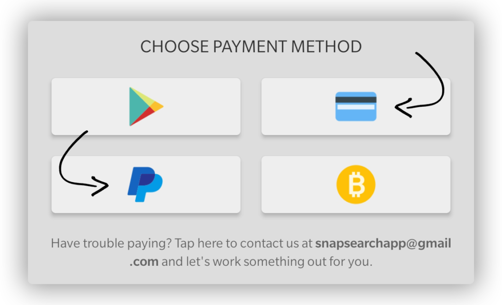 Snap Search payment methods for premium plans