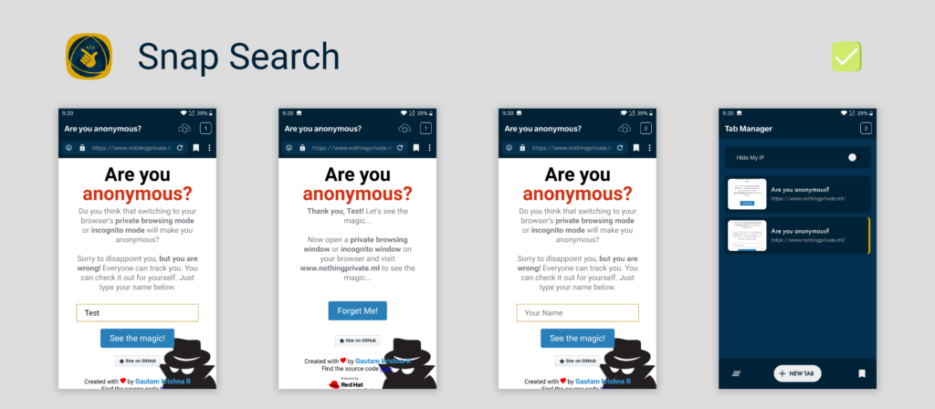 Snap Search privacy pass